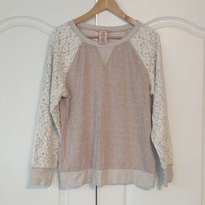 Philosophy lightweight sweatshirt lace sleeves